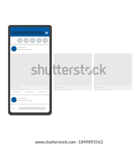 Mobile app mockup on realistic smartphone screen. Smartphone with facebook social network carousel interface post. Mobile interface template frame social network website. Vector illustration layout.
