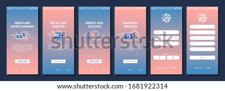 Mobile app onboarding screen or web site vector template with media and entertainment, retail and logistic, energy and utilites and financial services icons. Registration page for software Foto d'archivio ©