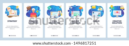 Mobile app onboarding screens. Cloud storage, viral marketing, business strategy, financial charts. Menu vector banner template for website and mobile development. Web site design flat illustration.