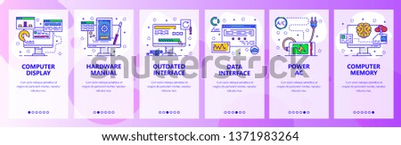 Mobile app onboarding screens. Computer services and hardware, power plug, charging. Menu vector banner template for website and mobile development. Web site design flat illustration.