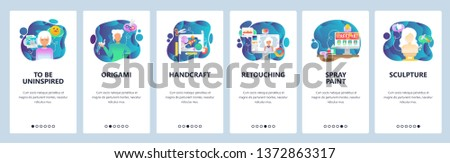 Mobile app onboarding screens. Digital and traditional art, photo retouch, origami and handcraft. Menu vector banner template for website and mobile development. Web site design flat illustration.