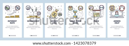 Mobile app onboarding screens. Interest rate, money investment, bank loan. Menu vector banner template for website and mobile development. Web site design flat illustration.