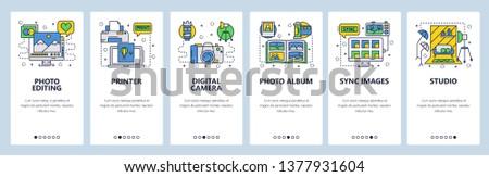 Mobile app onboarding screens. Photography studio, photo editing, digital camera, printer and album. Menu vector banner template for website and mobile development. Web site design flat illustration.