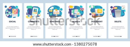 Mobile app onboarding screens. Social media network, photo sharing and computer services. Menu vector banner template for website and mobile development. Web site design flat illustration