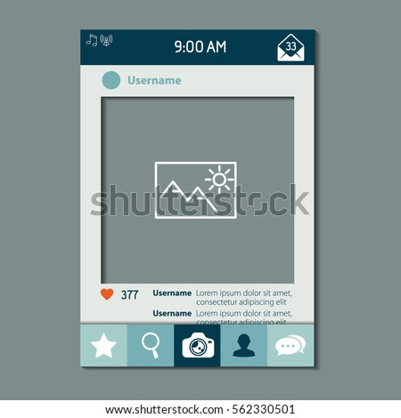 Mobile app photo or video frame with set of icons