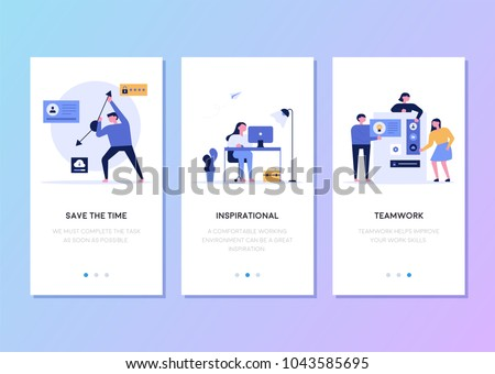 mobile app templates concept vector illustration flat design - Shutterstock ID 1043585695
