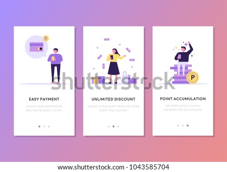 mobile app templates concept vector illustration flat design - Shutterstock ID 1043585704