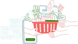 Mobile app to order grocery. Courier delivering goods from online shop. Hands holding Basket of food. The background of city landscape. Vector illustration doodles, thin line art sketch style concept