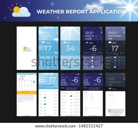 Mobile app ui kit weather roport template Photo stock ©