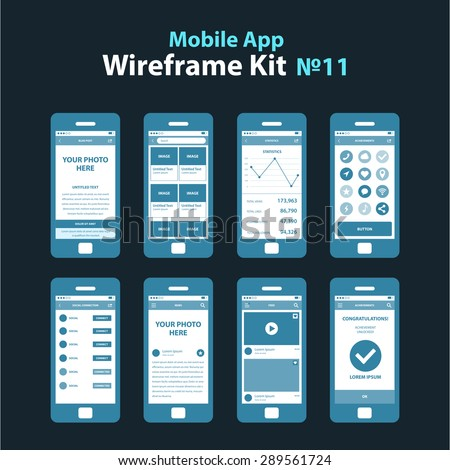 mobile app wireframe dark ui