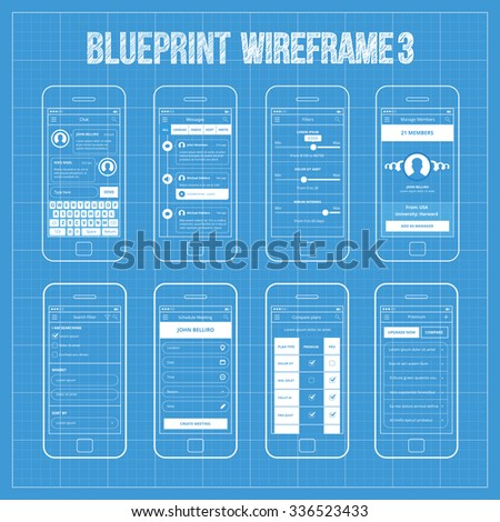 Royalty free blueprint wireframe mobile app ui kit 215335678 mobile app wireframe ui kit 3 chat screen messages screen filters screen malvernweather Images