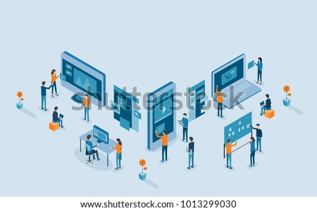 mobile application and web design  development process for responsive device  concept .with group business team  working and project brainstorming .with isometric  flat cartoon character design