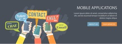 Mobile application concept. Hands holding phones with dialog speech bubbles. Eps10