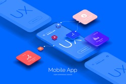Mobile application design. Mobile phone mockup with a set of tools for creating a user interface. Layered illustration with mobile phones and mobile application parts. Isometric style
