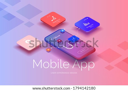Mobile application design. Smartphone mockup with statistics, charts, user profile, icons. User interface, user experience. Mobile interface technologies. Vector illustration isometric style.