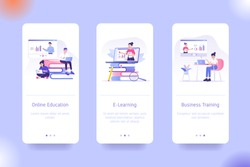 Mobile application design template set for Online Education, E- Learning and Business Training. UI on boarding screens design concept. Modern vector illustrations for user interface