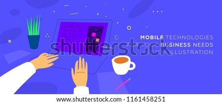 Mobile application development concept illustration with freelance programmer hands and laptop. Eps10 vector