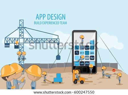 Mobile Application Development,Experienced Team-Vector Illustration,Graphic Design.Crane lifting building blocks.For Web Site,Poster,Presentation Templates,Ui.Creative Collaboration,Teamwork Concept