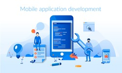 Mobile application development process flat vector illustration. Software API prototyping and testing background. Smartphone interface building process, mobile app build