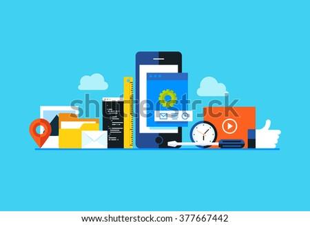 Mobile application development, smartphone app programming. Flat design modern vector illustration concept.