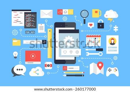Mobile application development, smartphone app programming. Flat design style modern vector illustration.