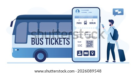 Mobile application for buying tickets online. Male user booking bus tickets digital. Bus, passenger and cell phone with app. Public transport, intercity transportation. Flat vector illustration Stockfoto ©