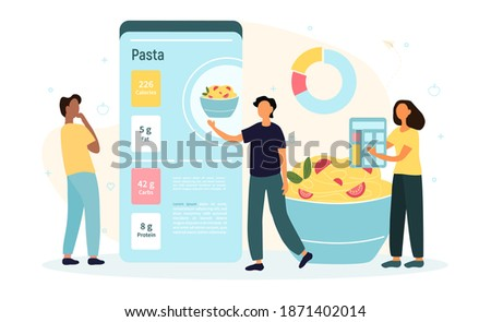 Mobile application for calorie counting. Tiny people with diagram on giant mobile phone and fresh food vegetables count calorie. Flat cartoon vector illustration