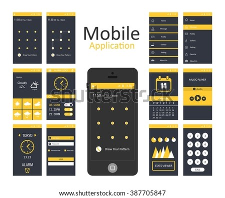 Mobile application interface concept. Vector Illustration, Android Flat Interface. Easy-edit vector EPS10 file. set of flat Application design. user profile. android launcher design