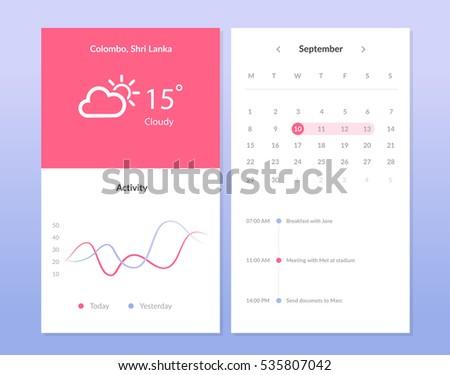 Mobile application interface design. Weather widget. UI interface. Calendar.Graph interdace