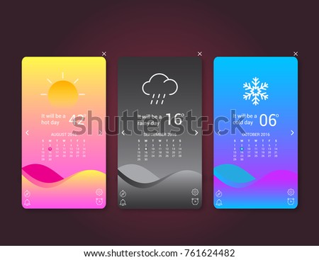 Mobile Application Interface Weather Forecast Vector Illustration deign