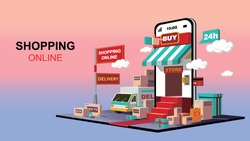 Mobile application, online shopping on website, logistics package delivery, vector concept