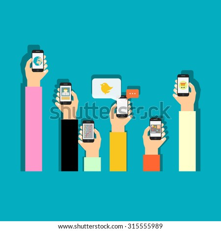 Mobile applications concept. Hand with phones flat illustration.
