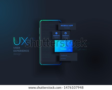 Mobile apps. Creation of a mobile application. Web page created from separate blocks. User experience, user interface. Layouts of the mobile application by layers. Modern vector illustration.