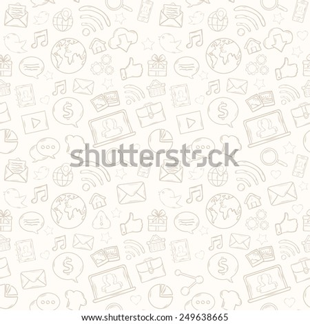 Mobile apps pattern with music,chat,gallery,speaking bubble,email,magnifying glass,shopping,search,notebook,laptop,cloud,wireless,hand