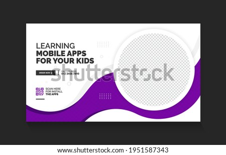 Mobile apps promotion YouTube video thumbnail and web banner template Foto stock ©