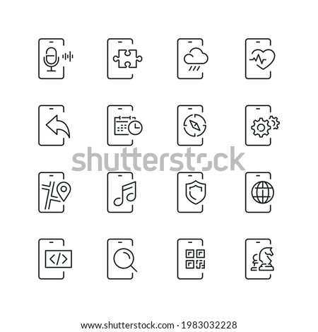 Mobile apps related icons: thin vector icon set, black and white kit