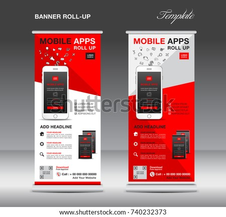 MOBILE APPS Roll up banner template, stand layout, red banner, application presentation, infographics, advertisement, flyer, x-banner, poster, advertisement, print media advertising
