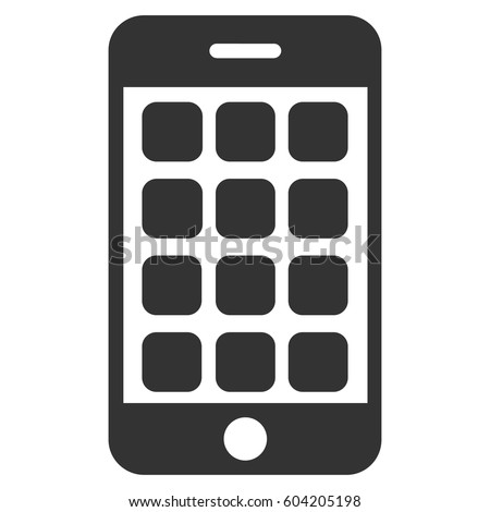 Mobile Apps vector icon. Flat gray symbol. Pictogram is isolated on a white background. Designed for web and software interfaces.