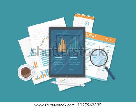 Mobile auditing, data analysis, statistics, research. Tablet with information on the screen, documents, report, calendar, magnifier, coffee. Growing Charts and Charts. Top view. Vector illustration.