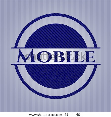 Mobile badge with denim texture