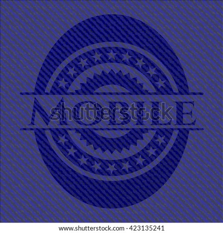 Mobile badge with jean texture