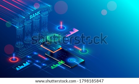 Mobile bank conceptual illustration. Internet online banking on phone. access to the money on bank card through app on smartphone with nfc technology. Digital Financial services and pay in web shop.