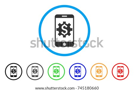 Mobile Bank Setup rounded icon. Style is a flat gray symbol inside light blue circle with bonus colored versions. Mobile Bank Setup vector designed for web and software interfaces.