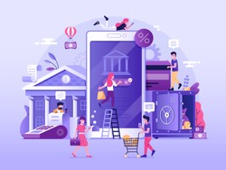 Mobile banking and finance management UI illustration. Office people characters using smartphone for internet mobile payments, transfers and deposits. Digital bank service fintech concept in flat.