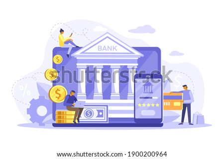 Mobile banking and online payment concept. People using laptop and mobile smartphone for online banking and accounting. Vector flat iliustration. Template for landing page