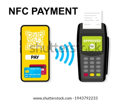 Mobile banking and payment by credit card using smartphone. Pos terminal confirms the payment. NFC payments. Scan to pay. Payment using Phone to scan QR code. Contactless payment, cashless technology