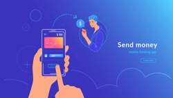 Mobile banking and sending money from credit card via electronic wallet app wirelessly and easy. Bright vector illustration of human hand holds smartphone with bank card to transfer money to a man