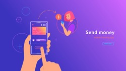 Mobile banking and sending money from credit card via electronic wallet app wirelessly and easy. Bright vector illustration of human hand holds smartphone with bank card to transfer money to a woman
