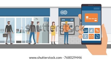 Mobile banking app on a smartphone and bank with customers and atm on the background, technology and finance concept