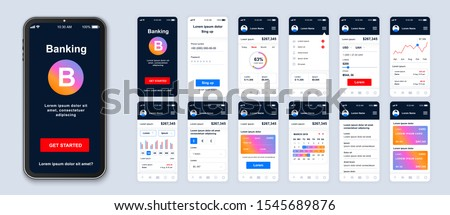 Mobile banking app smartphone interface vector templates set. Financial services online web page design layout. Pack of UI, UX, GUI screens for application. Phone display. Web design kit